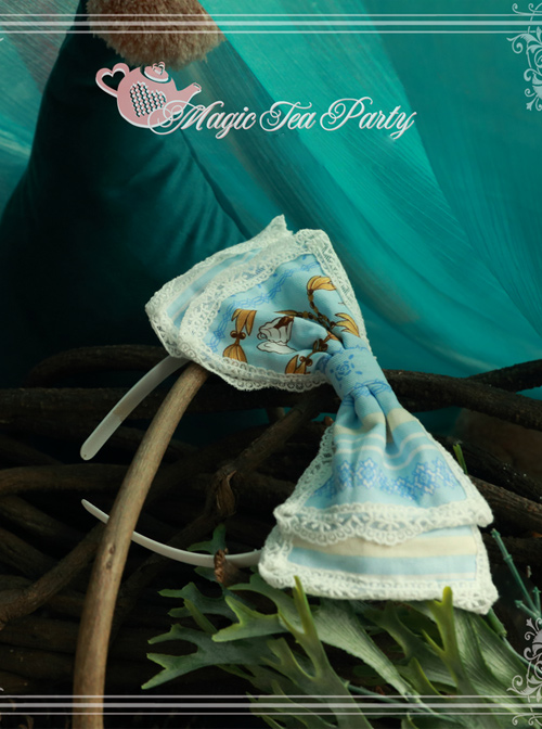 Magic Tea Party Alice Print KC Bowknot Sweet Lolita Hair Hoop