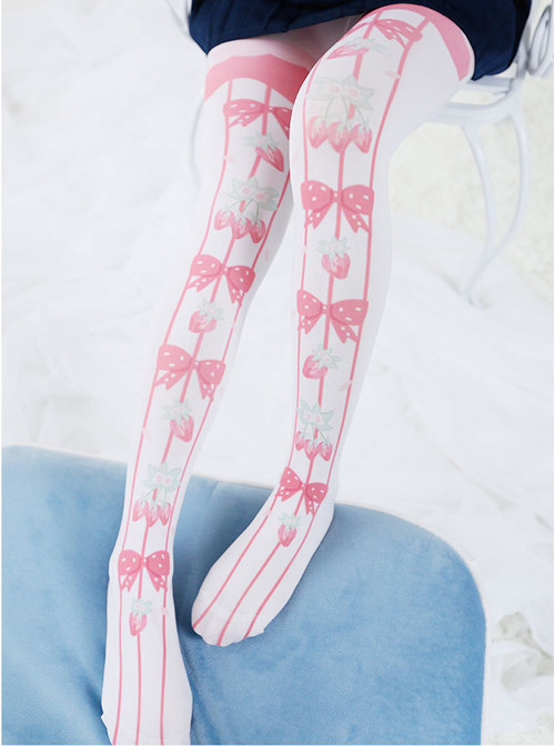 Pink Cute Strawberry Bowknot Printing Sweet Lolita Pantyhose