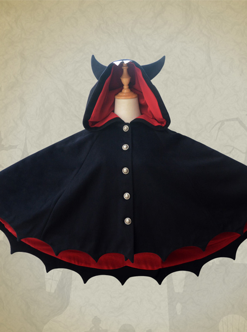 Devil\'s Ears Gothic Lolita Autumn Winter Black Wool Bat Cloak