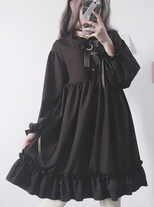 The Castle Under The Moonlight Series Pure Black Ruffle Hem Gothic Lolita Long Sleeve Dress