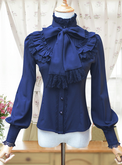 Stand Collar Bowknot Tie Retro Lolita Lantern Sleeve Long Sleeve Shirt