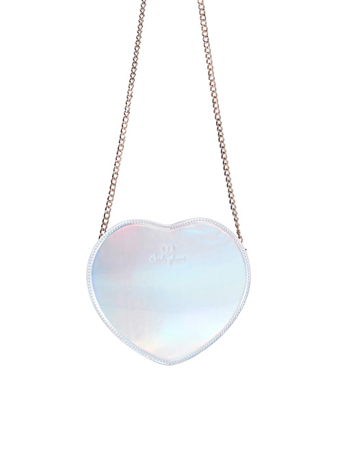 Cute Heart-Shaped Chain Sweet Lolita Laser Shoulder Bag