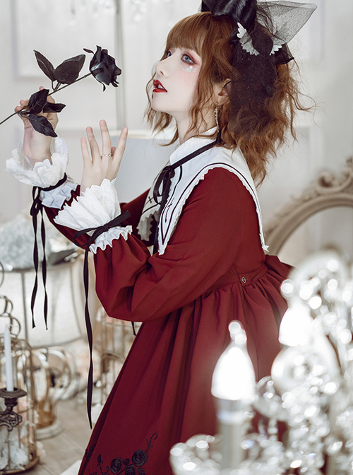 Oath Roses Series Embroidery Gothic Lolita Bowknot Long Sleeve Dress