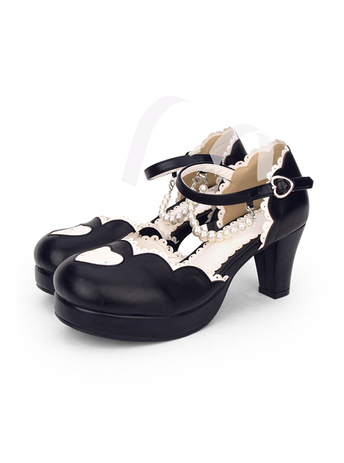 Round-toe Love Heart Sweet Lolita Pearl Chain High Heels Shoes