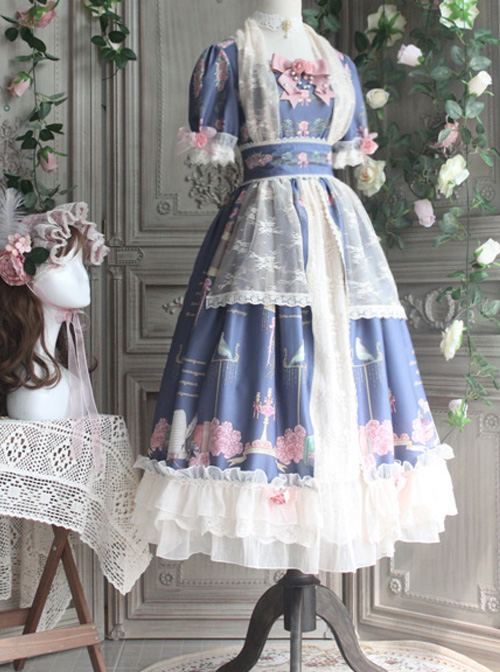The Roses Poetry Series OP Plase Court Style Classic Lolita Short Sleeves Long Dress