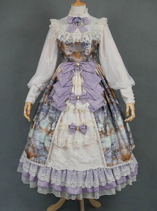 Dusk Of The Gods Series OP Retro Ruffle Classic Lolita Long Sleeve Dress