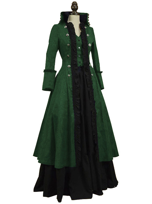 Victorian Retro Multicolor Palace Style Lolita Prom Long Dress And Coat Set