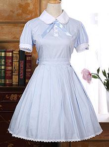 Bowknot Doll Collar School Lolita Short Sleeve Dress