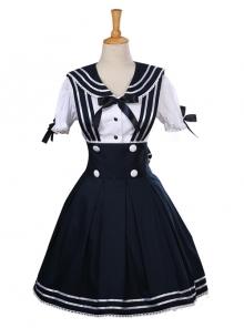 Black Bowknot Navy Style School Lolita Short Sleeve Dress Set