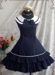 Blue Bowknot Cotton School Lolita Sleeveless Dress