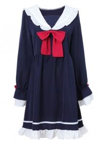 Blue Bowknot Chiffon School Lolita Long Sleeves Dress