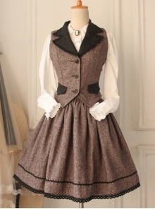 Brown Elegant Retro Lolita Skirt And Vest Suit