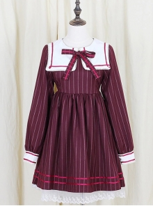 Wine Red Stripe Girls Series Bowknot School Lolita Long Sleeve Dress
