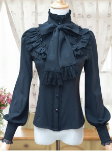 Stand Collar Bowknot Tie Retro Lolita Lantern Sleeve Long Sleeve Shirt