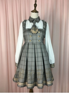 Little Bear Detective Series Plaid School Lolita Long Sleeve Dress