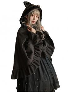 Cat Ears Bowknot Sweet Lolita Pocket Thickening Woolen Cloak