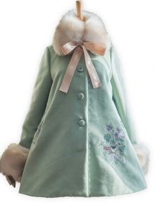 Flowers Embroidery Classic Lolita Fur Collar Pure Color Woolen Coat