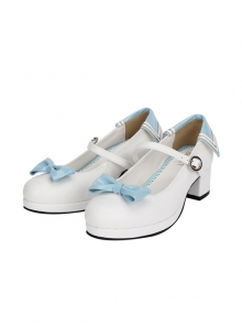 Light Blue And Dark Blue Bowknot Navy Style Lolita Round-toe High Heel Shoes
