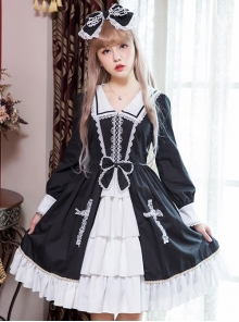Black And White Lace Bowknot Lapel Lace Cross Gothic Lolita  Long Sleeve Dress