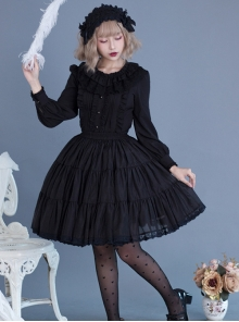 Black Or White Cute Lace Classic Lolita Pure Color Skirt