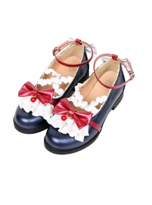 Cute Ruffle Red Bowknot Sweet Lolita Low-heel Shoes