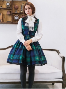 Lapel Slim Retro Elegant Classic Lolita Vest And Skirt Set