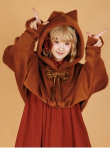 Ghost Cat Series Fluffy Pure Color Sweet Lolita Bat Sleeves Short Coat
