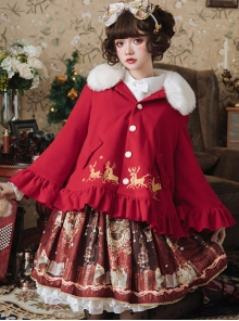 Elk Printing Detachable Fur Collar Classic Lolita Cloak Coat