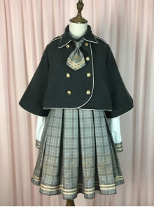 Little Bear Detective Series Black School Lolita Double-Breasted Cloak