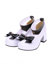 Detachable Pentagram Bowknot Lolita Round-toe Navy High Heel Shoes