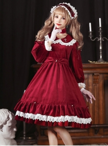 Lace Doll Collar Gorgeous Back Slit Gothic Lolita Velvet Pearl Long Sleeve Dress