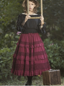 Heidi Series Pure Color Cotton Ruffle Classic Lolita Skirt