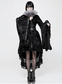 Flocking Printing Gothic Lolita Black Kimono Dress