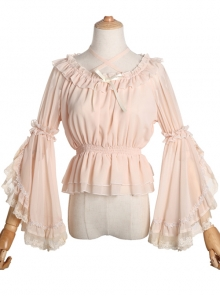 Chiffon Lace Ruffle Round Collar Classic Lolita Pure Color Trumpet Sleeve Shirt