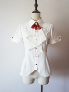 Researcher Series White Lapel Shirt Classic Lolita Short Sleeve Blouses