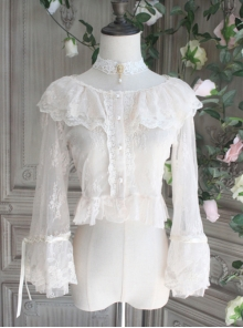 The Poetry Of Roses Series Lace Elegant Classic Lolita Sunscreen Shirt Short Blouse