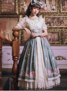 The Poetry Of Roses Series Printing Classic Lolita High Waist Long Skirt
