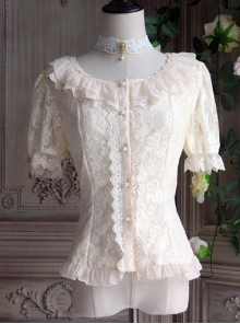 The Poetry Of Roses Series Lace Daily Short Sleeve Trumpet Sleeves Two Wearing Ways Classic Lolita Elegant Shirt
