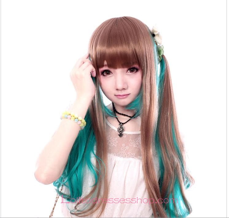 Lolita Brown Green Maid Cute Cosplay wig