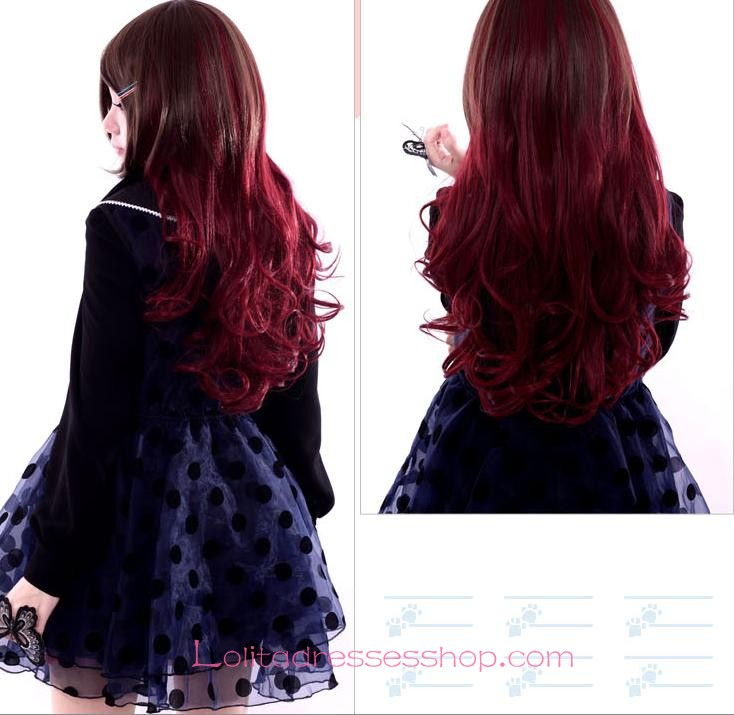 Lolita Gothic Maid Sweet Red Wine Wig